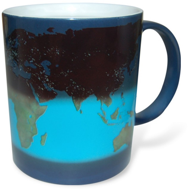 World Day And Night Heat Changing Mug Map Coffee Tea Activated Color Globe