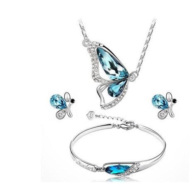 Side Butterfly 3 Piece Jewelry Set