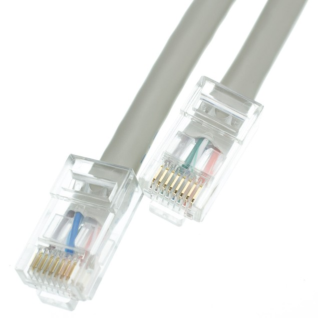 Cat5e Gray Ethernet Patch Cable  Bootless  10 foot