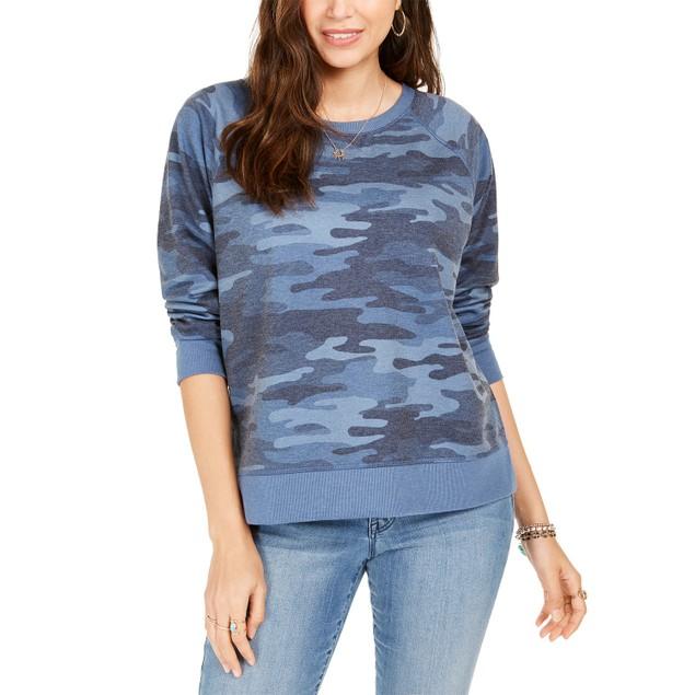Style & Co Women's Camo Sweatshirt Blue Size X-Large