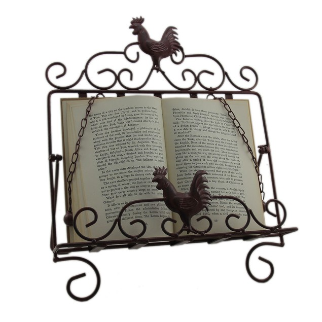 Rustic Red Rooster Cast Iron Tabletop Book Stand Cookbook Stands