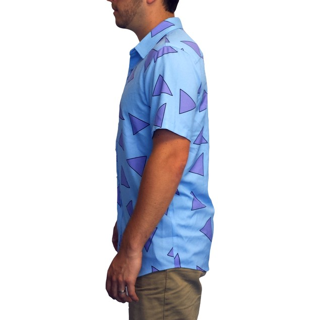 Rocko's Shirt Nickelodeon Modern Life Blue Button Down Up Costume Cosplay