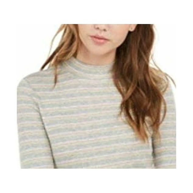 Hippie Rose Juniors' Ribbed Mock-Neck Top Gray Size Extra Large