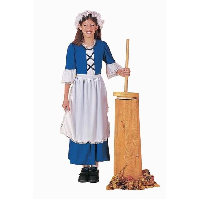 Colonial Girl Child Costume Settler Blue White Apron Bonnet Girls Child