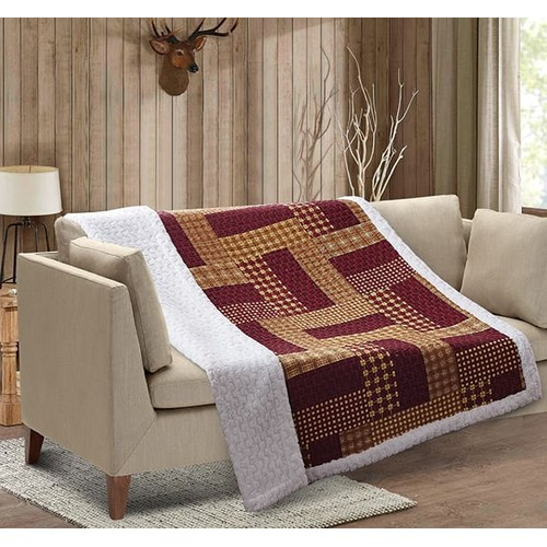 Homestead Oriental Red Patchwork Quilted Sherpa Southwestern Throw