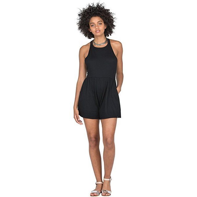 Volcom Women's Solo Trip Romper Black Small