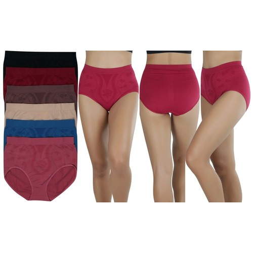 (6 Pack) ToBeInStyle Women's Smoother Full Brief Panty - Plus Size