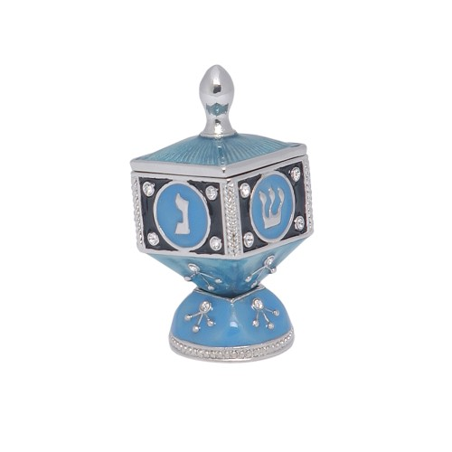 Hinged Enamel Collector Hinged Top Dreidle with Stand