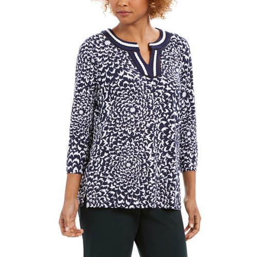 Charter Club Women's Printed Crochet-Trim Tunic Top Blue Size Small