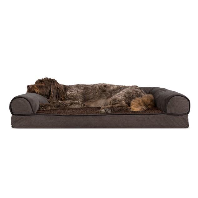 FurHaven Faux Fleece & Chenille Soft Woven Memory Foam Sofa Pet Bed