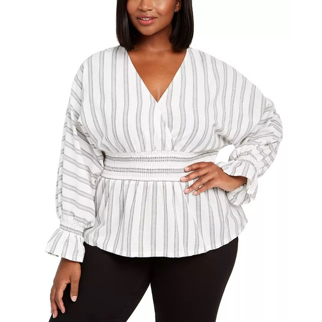 INC International Concepts Women's Plus Size Striped  Top White Size 2X