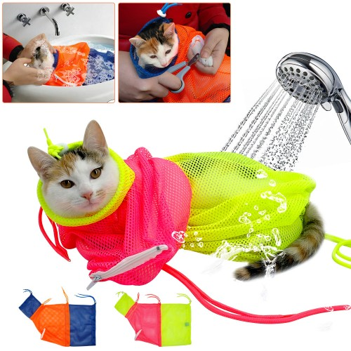 Adjustable Mesh Pet Cat Bath Bag Nail Trimming Injecting Bag