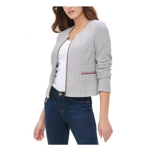 Tommy Hilfiger Collarless Zip-Front Jacket Gray Size 16