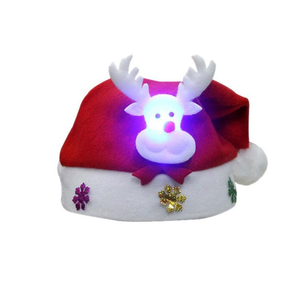 Adult LED Christmas Hat Santa Claus Reindeer Snowman Xmas Gifts Cap