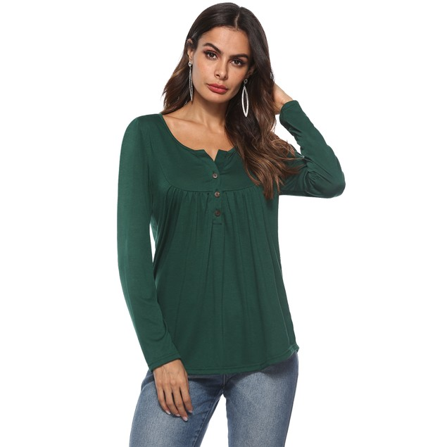 Long Sleeve Solid Henley Shirt