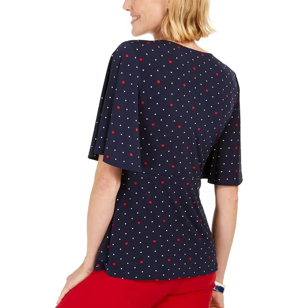 Charter Club Women's Printed Flutter-Sleeve Wrap Top Blue Size Small