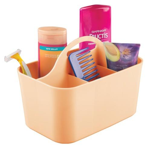 mDesign Plastic Bathroom Storage Organizer Caddy Tote, Small