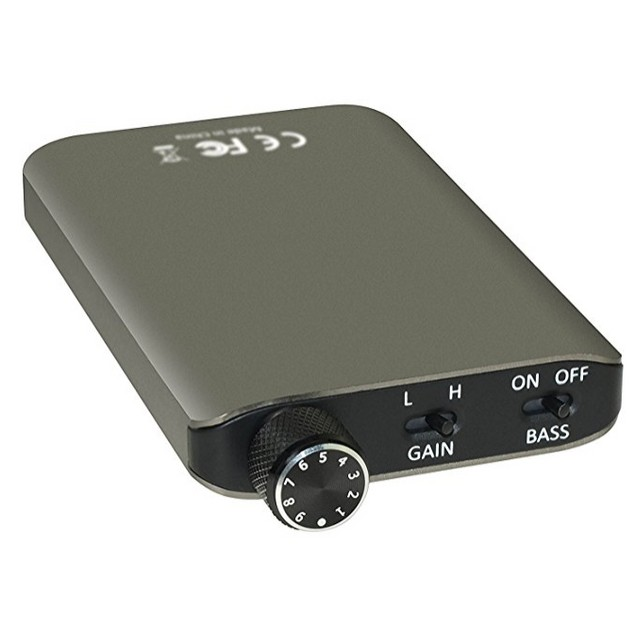 PORTABLE HEADPHONE AMPLIFIER ALUMINUM BODY WITH L-SHAPED PLUGS AMP SOUND