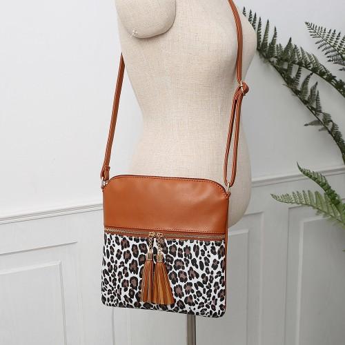 Contrasting Leopard Print Fringe Bag Ladies