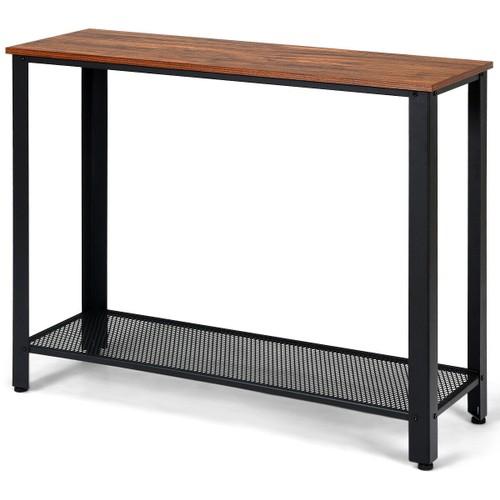 Costway Console Sofa Table W/ Storage Shelf Metal Frame Wood Look Entryway