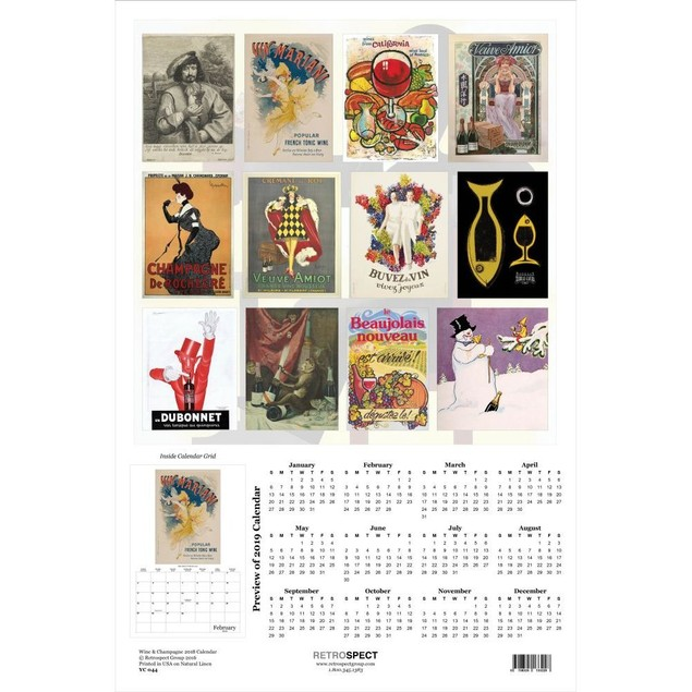 Wine & Champagne Poster Calendar, Wine, Beer & Spirits by Retrospect Group