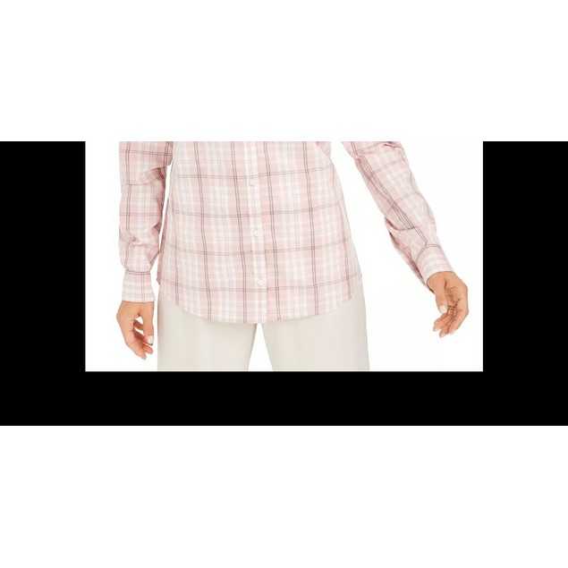 Charter Club Women's Cotton Plaid Shirt Pink Size Small