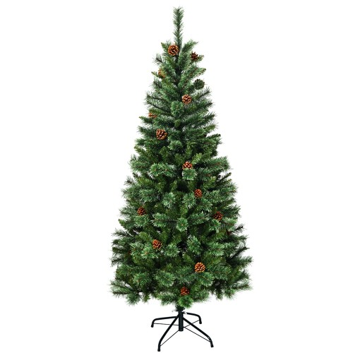 Costway 6 ft Premium Hinged Artificial Christmas Tree Mixed Pine Needles w/