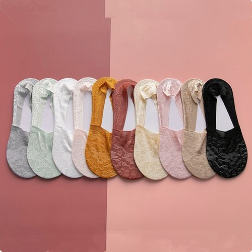10-pack Non-slip Lace Boat Socks One Pair Of Each Color