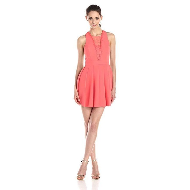 BCBGeneration Women's Deep V Dress, Salmon Wine, 10