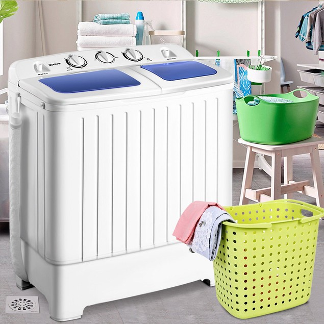 """Costway 14"""" Portable Top-Load Washing Machine w/ Spin Dryer"""