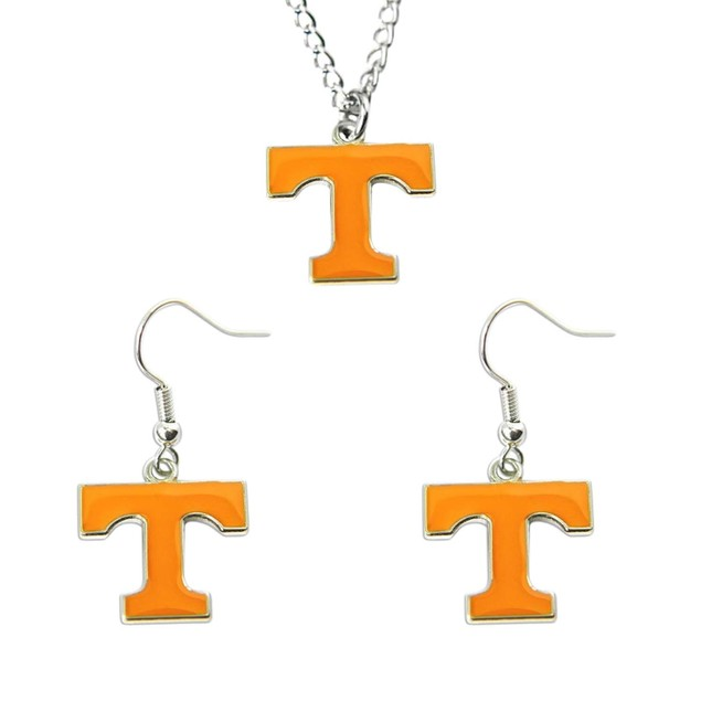 Tennessee Vols Necklace and Dangle Earring Charm Set NCAA