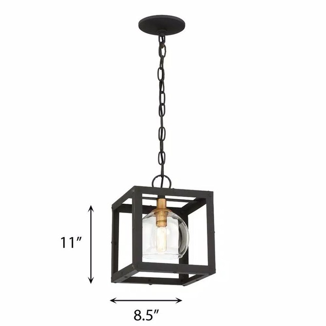 EasyLite Bentley Collection 1 Light Chain Mini Pendant, Black & Antique