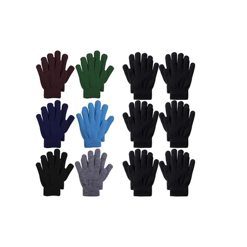 (6-Pack) ToBeInStyle Men's Basic Knit Solid Color Warm Magic Gloves