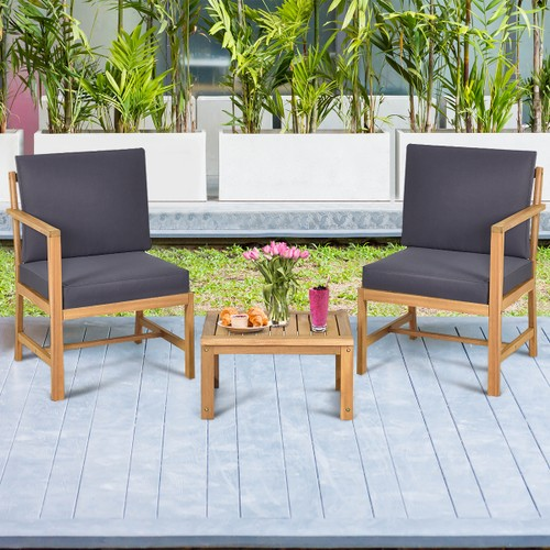 Costway 3 in 1 Solid Wood  Patio Set