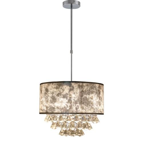 Chandelier Lighting w/44 Hanging Crystals and Adjustable Pole Metal Base