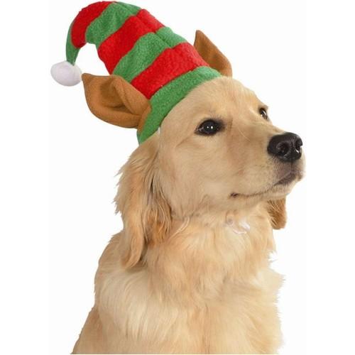 Elf Hat With Ears Pet Costume Dog Christmas Santa's Helper Puppy Cat