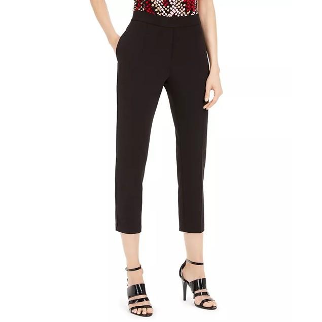 Calvin Klein Women's Piped Trim Cropped Pants Black Size 16