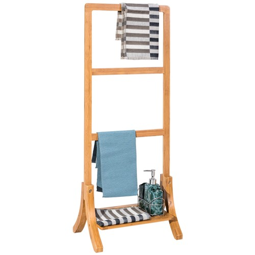 Costway Bamboo Towel Rack Stand Hanger Free Standing with Bottom Shelf Bath
