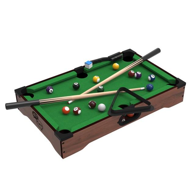 Mini Tabletop Pool Set- Billiards Game Includes Game Balls, Sticks, Chalk