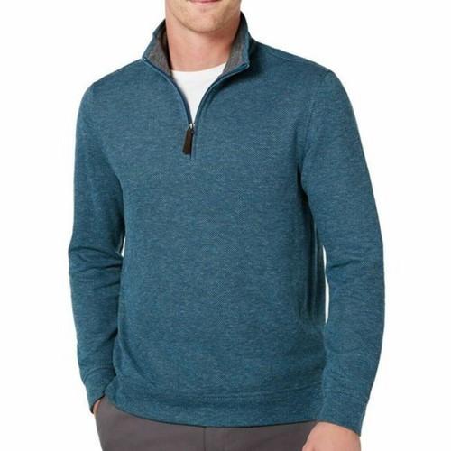 Tasso Elba Men's 1/4-Zip Sweater  Dark Blue Size Extra Large