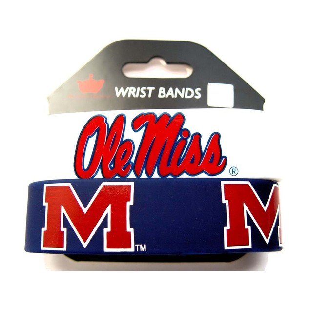 Mississippi OLE Miss Running Rebels Rubber Wrist Band (Set of 2) NCAA