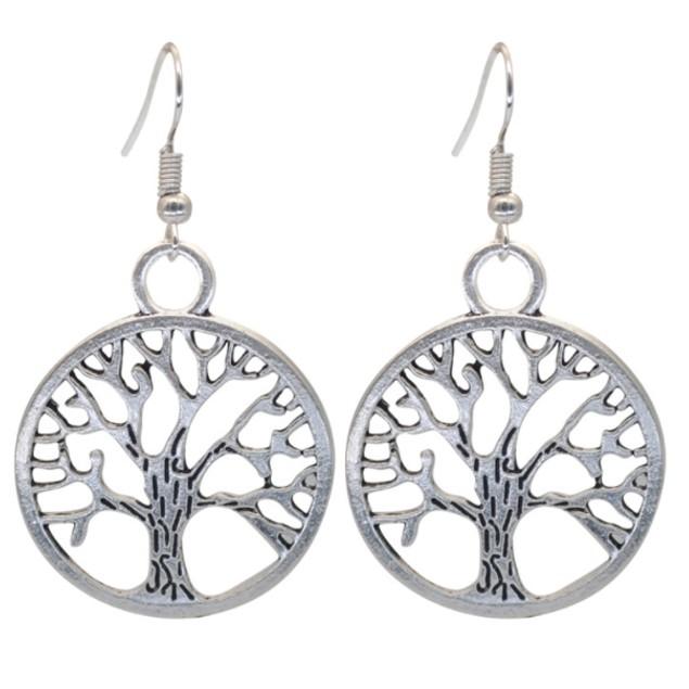 18Kt White Gold Tree Of Life Earrings
