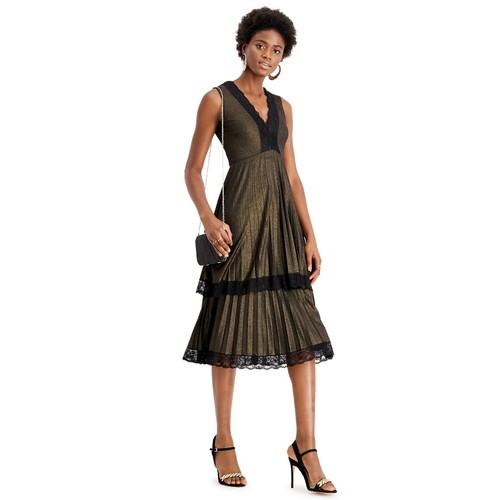 Taylor Women's Lace-Trim Metallic Tiered Dress Black Size 6