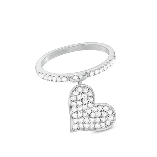 0.925 Sterling Silver Cubic Zirconia Band With Dangling Pave C.Z Heart Charm Ring- Size-7