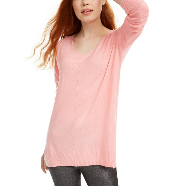 Hippie Rose Juniors' V-Neck Tunic Sweater Pink Size Large