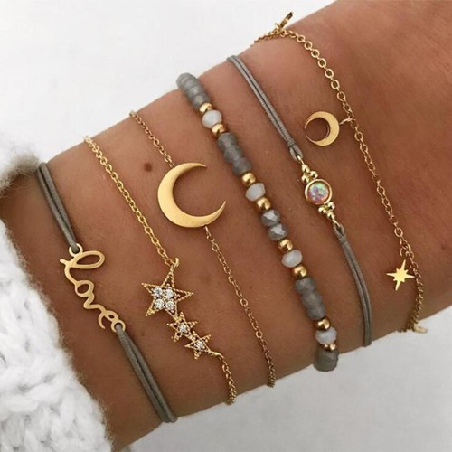 Six-piece LOVE Five-pointed Star Moon Bracelet