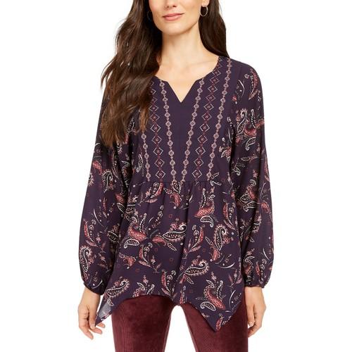 Style & Co Women's Printed Handkerchief-Hem Peasant Top  Purple Size Large