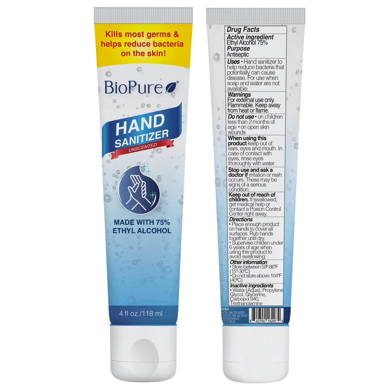 48-Pack BioPure Unscented Hand Sanitizer