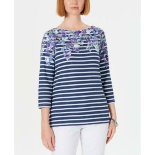 Karen Scott Women's Petite Floral Striped Boat-Neck Top Blue Size 44