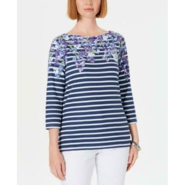 Karen Scott Women's Petite Floral Striped Boat-Neck Top Blue Size 44